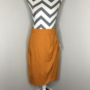 MaxMara Orange Linen Wrap Skirt
